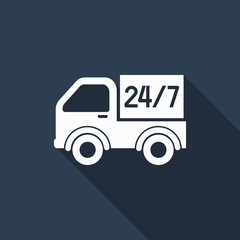 shipping 24 hour icon with long shadow