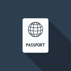 passport icon with long shadow