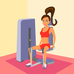 Woman at the gym exercising on a machine.