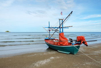 Fisherman boat on the beach, Huahin, Thailand
