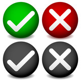 Checkmark and cross symbol on sphere