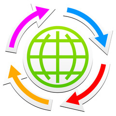 Globe outline symbol with arrows
