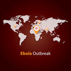 Ebola Virus outbreak, Minimalistic template, vector illustration