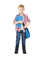 Schoolboy child holding book. Student school boy isolated white