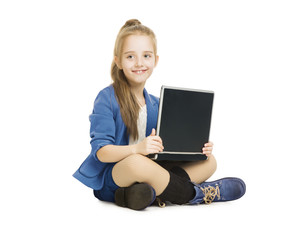 School Girl Kid and Computer. Schoolgirl with Notebook, Laptop