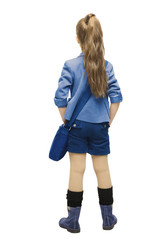 Schoolgirl in uniform back side view. School girl backside