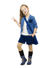 Schoolgirl in uniform showing victory sign. Student school girl