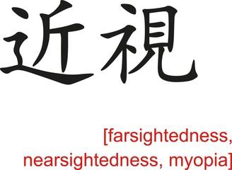 Chinese Sign for farsightedness, nearsightedness, myopia