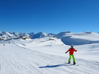 Snowboarden auf Piste