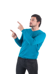 Man in blue pointing to somewhere