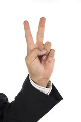 hand and businessman showing two fingers