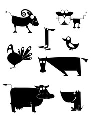 Vector comic farm animal silhouettes collection for design