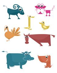 Vector comic farm animals collection for design