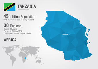 Tanzania world map with a pixel diamond texture.