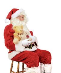Santa Holding Teddy Bears