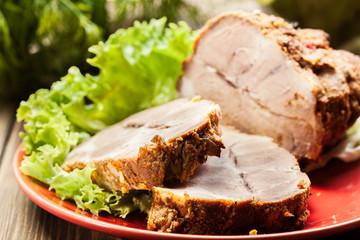 Slices of roasted shoulder