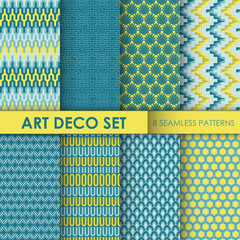 Vintage Art Deco Background Set - 8 seamless patterns for design