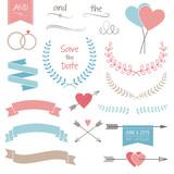 Wedding set, arrows, hearts, laurel, wreaths, ribbons, rings