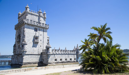 Belem Tower on the Tagus river, in Lisbon, Portugal