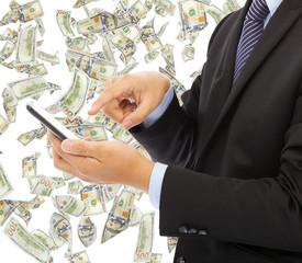 business man touching smart phone with money rain