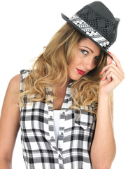 Sulky Sultry Young Woman Wearing Black Tilbury Hat