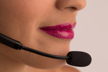 Closeup  woman with headset .Call center customer service agent