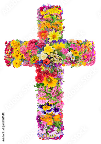 Flowers of a cross of Jesus - 68607348