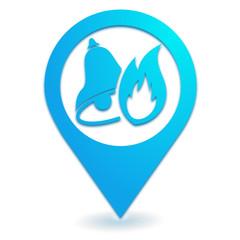 alarme incendie sur symbole localisation bleu