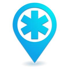 ambulance sur symbole localisation bleu