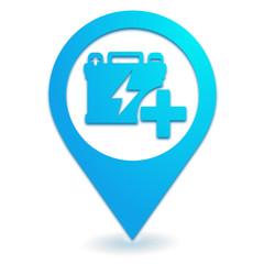 batterie supplémentaire sur symbole localisation bleu