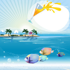 Tropical scene with underwater life and text place