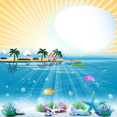 Tropical sea theme background with text area