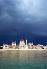 Black clouds over Hungarian Parliament Building