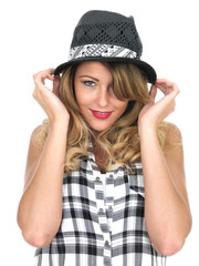 Happy Young Woman Wearing a Hat