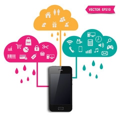 Smart phone  with icons,vector