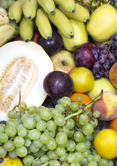 background of fresh fruits bunch berry, banana