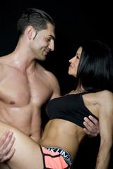 coppia di atleti di body building