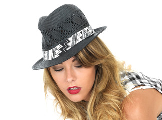 Serious Thoughtful Young Woman Wearing a Hat