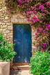 Detail of colorful entrance door surrounded by flowers