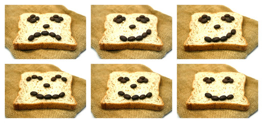 Bread slices with coffee beans