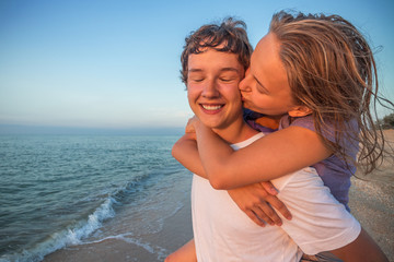 Happy smiling summer  couple teen