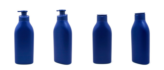 set blue bottle of cream