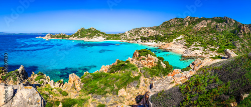 Beautiful coastline beach panorama in Maddalena islands, Italy - 68609130