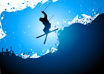 Freestyle ski abstract background