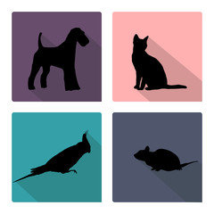 Icon set with silhouettes of pets.