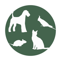 Silhouettes of of pets in a round frame.