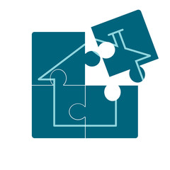 Home Icon on Blue Puzzle.