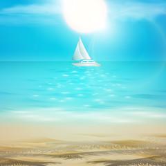 Vector summer beach background sand, ocean, sun and sailing yach