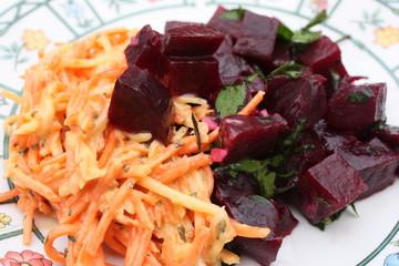 Carottes râpées Betterave rouge en vinaigrette