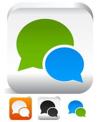 Set of speech bubble icons in different colors. Support, convers
